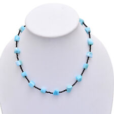 SPLENDID- LARIMAR With BLACK SPINEL Beads Necklace, Larimar Tumble Bead Necklace