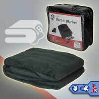 Electric Heated Car Blanket 12V Large Fleece Cozy Van Truck Vehicle Black