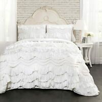 Nice Country Twin 3 Piece Bedding Set Comforter Ruffled Shabby Chic Farmhouse