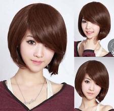 New Fashion Short Brown Straight Bob Women's Lady's Cosplay Hair Wig Wigs + Cap
