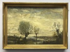 Early 20th century Antique Impressionist Oil painting on board landscape