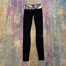 Lululemon Wunder Under Black Leggings Geometric Multi-Color Waistband Size 2