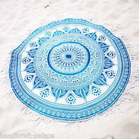Indian Ethnic Ombre Mandala Throw Round Tapestry Yoga Mat Beach Boho Beach Throw
