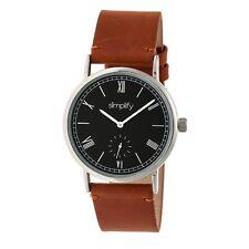 Simplify 5100 Men's Tan Genuine Leather Watch - Silver/Black/Camel 5106