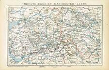 Karte von MANCHESTER / LEEDS 1894 Original-Graphik