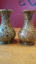 Unusual pair of mosaic vases