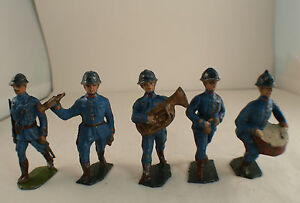 Lm XR Bundle Of 5 Soldiers 1914/1918 Music Fanfare Lead Hollow Old