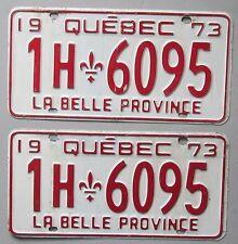 Quebec 1973 License Plate PAIR # 1H-6095