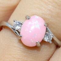 2.25 Ct Oval Pink Opal Solitaire Ring Women Jewelry Gift 14K White Gold Plated
