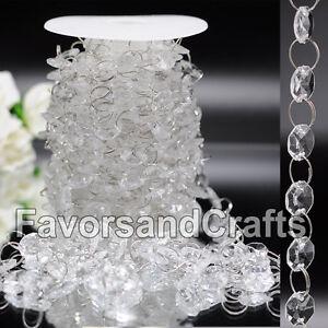 30FT Wedding Acrylic Garland Diamond Crystal Bead Chandelier Hanging Decoration