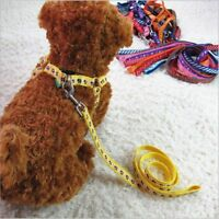 Dog Pet Puppy Cat Adjustable Rope Nylon Harness with Lead leash Traction rope
