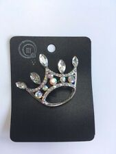Gorgeous Princess Crown Diamante Brooch Silver Metal  *NEW*