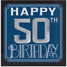 HAPPY 50th BIRTHDAY BEVERAGE NAPKINS PARTY TABLE DECORATION BLUE SILVER & BLACK