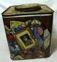 OLD VINTAGE UNIQUE PRINTED WORK TIN BOX COLLECTIBLE