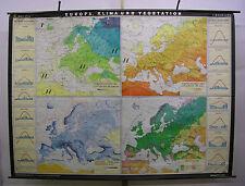 Schulwandkarte schöne alte Europakarte Klima Januar Juli Wetter 244x180 1974 map