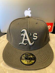 New Era REPLICA Oakland Athletics Baseball Cap 5950 Men's Storm Grey Fitted Hat