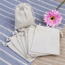 10x Small Bag Natural Linen Pouch Drawstring Burlap Jute Sack Jewelry Bags Gift