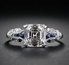 Certified 3.10Ct White Asscher Cut Diamond Wedding Engagement 14KWhite Gold Ring