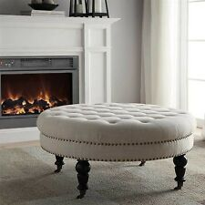White Ottoman Round Button Tufted Footstool Nailhead Bedroom Furniture Linen NEW