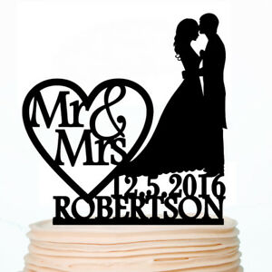 Personalized Wedding Cake Toppers Bike Bride and Groom Custom Party Decorations