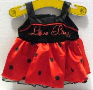 BUILD A BEAR RED BLACK LOVE BUG LADYBUG DRESS OUTFIT TEDDY CLOTHES
