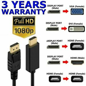 DisplayPort DP Male to VGA DVI HDMI Female Display Port Adapter Cable 1080P HDTV