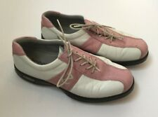 Ecco Golf Shoes Womens 39 White Pink Leather Oxford