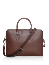 100% AUTHENTIC NEW BURBERRY BARROW BROWN LEATHER BRIEFCASE/LAPTOP/MESSENGER BAG