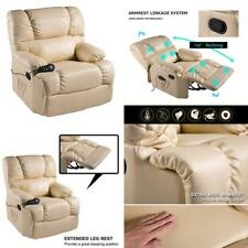 Massage Therapy LIke Lazy Boy Leather Chair Recliner Heat Club Seat Color Beig