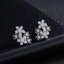 Women Flower Silver Plated Zircon Earrings  Rhinestones Ear Stud Jewelry
