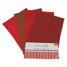 Dovecraft A4 Art + Craft Feltro Colorato 8 FOGLI Shade Confezione Multipla-ROSSI