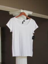 CYNTHIA ROWLEY White Scoop Neck SHORT SLEEVE Tee Shirt Top SIZE L NWT