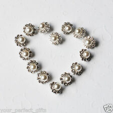 10 Round Circle Rhinestone Crystal Pearl Silver Metal Button Buckle BT108