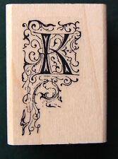 "P22 Decorative Letter K rubber stamp WM 0.8x1.6"""