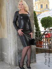 Lederkleid Leder Kleid Schwarz Knielang Nieten Glamour Maßanfertigung