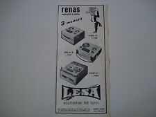 advertising Pubblicità 1962 REGISTRATORE LESA RENAS A/2 - R/2 - B/1