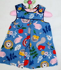 Mini Boden Baby Girl Dress Size 3-6 Months Forest Animals Bunny Fox Squirrel LN