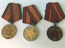 RUSSIAN SOVIET ARMY MEDALS SET OF LONG SERVICE 10,15,20 YEARS 1960's