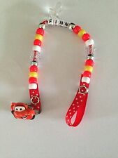 Personalised Dummy Clips - Disneys Cars - Lightening Mcqueen - (Any Name)-