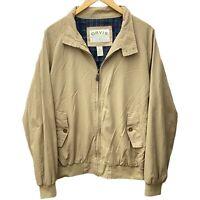 Orvis Khaki Full Zip Green Plaid Lined Mens Bomber Coat Jacket • Large L