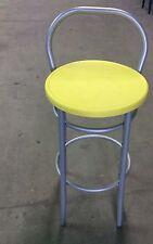 Sgabello alto per snack,bar,locale con schienale struttura grigia seduta giallo