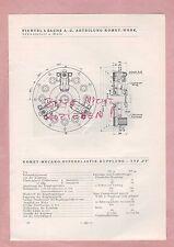 SCHWEINFURT Typentafel 1934 Fichtel & Sachs AG Komet-Mecano-Superlastik-Kupplung