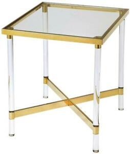 SIDE TABLE CONTEMPORARY HIGH-POLISHED GOLD CLEAR TEMPERED GLASS STAINLESS