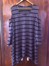 AUTOGRAPH BLACK/GREY STRIPED OPEN SOULDER KNIT JUMPER SIZE:20 BNWD