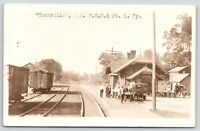 Rockville Indiana~PCC&StL Railway Depot~Men & Vintage Cars~Truck~1920s RPPC