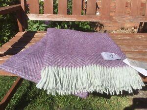Bronte By Moon Shetland Herringbone Heather Lilac Blanket Throw 100% Merino wool