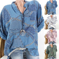 Womens Long Sleeve V-neck Boho Floral T Shirt Tops Casual Loose Blouse Plus Size