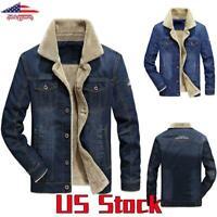 US Men's Fleece Lined Denim Coat Trucker Jacket Winter Warm Fur Collar Outwear