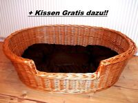 70 cm Hundekorb Hundebett Hundeschlafplatz Hundeliege Hundesofa Weide + Kissen