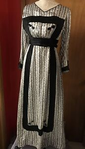 Antique Cream Blue Black Silk Print Early 1910's Dress Blk Trim & Buttons S  XS
